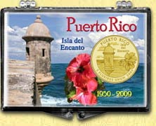 Puerto Rico - Old Fort Snaplock Display - with Gold Plated Territorial Quarter