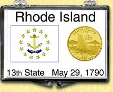 Rhode Island - State Flag Snaplock Display - with Gold Plated State Quarter