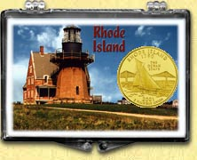 Rhode Island - Lighthouse Snaplock Display - with Gold Plated State Quarter