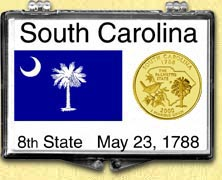 South Carolina - State Flag Snaplock Display - with Gold Plated State Quarter