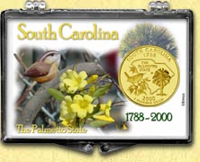 South Carolina - Palmetto State Snaplock Display - with Gold Plated State Quarter