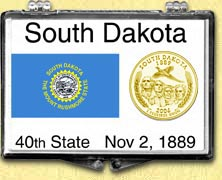 South Dakota - State Flag Snaplock Display - with Gold Plated State Quarter