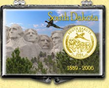 South Dakota - Mt. Rushmore Snaplock Display - with Gold Plated State Quarter