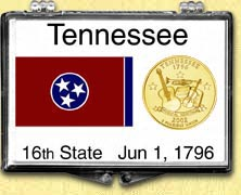 Tennessee - State Flag Snaplock Display - with Gold Plated State Quarter