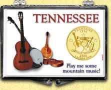 Tennessee - Play Me Some Mountain Music Snaplock Display - with Gold Plated State Quarter