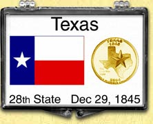 Texas - State Flag Snaplock Display - with Gold Plated State Quarter