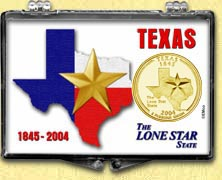 Texas - Lone Star State Snaplock Display - with Gold Plated State Quarter