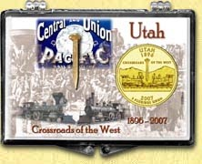 Utah - Crossroads Of The West Snaplock Display - with Gold Plated State Quarter