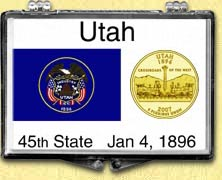 Utah - State Flag Snaplock Display - with Gold Plated State Quarter