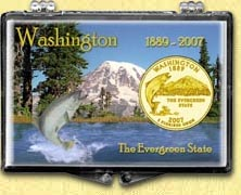 Washington - The Evergreen State Snaplock Display - with Gold Plated State Quarter
