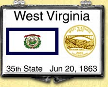 West Virginia - State Flag Snaplock Display - with Gold Plated State Quarter