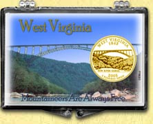West Virginia - Mountaineers Snaplock Display - with Gold Plated State Quarter