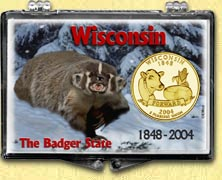 Wisconsin - Badger State Snaplock Display - with Gold Plated State Quarter