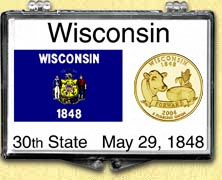 Wisconsin - State Flag Snaplock Display - with Gold Plated State Quarter