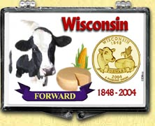 Wisconsin - Forward Snaplock Display - with Gold Plated State Quarter
