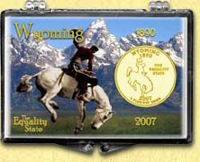 Wyoming - Cowboy Snaplock Display - with Gold Plated State Quarter