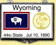 Wyoming - State Flag Snaplock Display - with Gold Plated State Quarter
