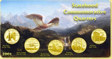 2001 State Quarter Set - with Gold Plated State Quarters