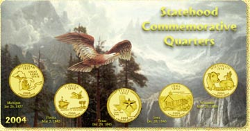 2004 State Quarter Set - with Gold Plated State Quarters