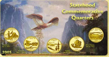2005 State Quarter Set - with Gold Plated State Quarters