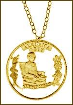 Alabama, Gold Plated Cut-Out Coin Necklace