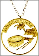 American Samoa Gold Plated Cut-Out Coin Necklace