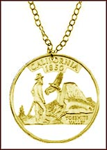 California, Gold Plated Cut-Out Coin Necklace