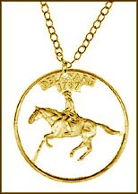 Delaware, Gold Plated Cut-Out Coin Necklace