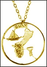 Guam Gold Plated Cut-Out Coin Necklace