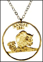 Kansas, Gold Plated Cut-Out Coin Necklace