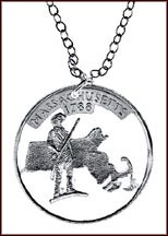 Massachusetts Cut-Out Coin Necklace