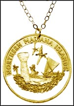 Northern Mariana Islands Gold Plated Cut-Out Coin Necklace