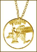 New York, Gold Plated Cut-Out Coin Necklace