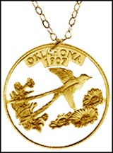 Oklahoma, Gold Plated Cut-Out Coin Necklace