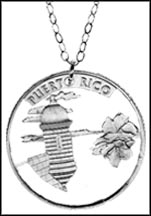 Puerto Rico Cut-Out Coin Necklace