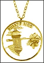 Puerto Rico Gold Plated Cut-Out Coin Necklace