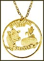 Wisconsin, Gold Plated Cut-Out Coin Necklace