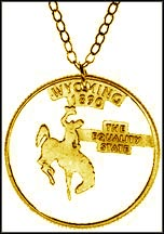 Wyoming, Gold Plated Cut-Out Coin Necklace