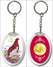 Alaska State Bird & Flower Keychain - with Gold Plated State Quarter