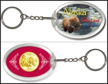 Alaska - The Great Land Keychain - with Gold Plated State Quarter