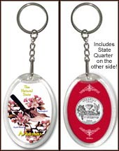 Arkansas - State Bird & Flower Keychain