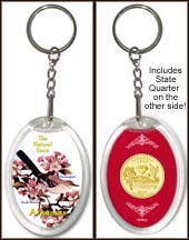 Arkansas - State Bird & Flower Keychain - with Gold Plated State Quarter