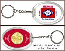 Arkansas - State Flag Keychain - with Gold Plated State Quarter