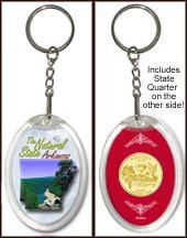 Arkansas - The Natural State Keychain - with Gold Plated State Quarter