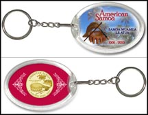 American Samoa - Beach Keychain - with Gold Plated Territorial Quarter