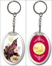 Arizona State Bird & Flower Keychain - with Gold Plated State Quarter
