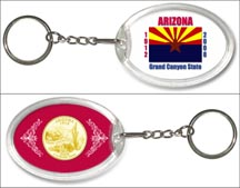 Arizona State Flag Keychain - with Gold Plated State Quarter