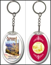 Arizona - Grand Canyon Keychain - with Gold Plated State Quarter