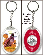California - State Bird & Flower Keychain