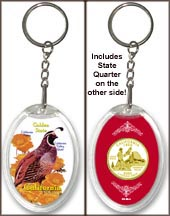 California - State Bird & Flower Keychain - with Gold Plated State Quarter